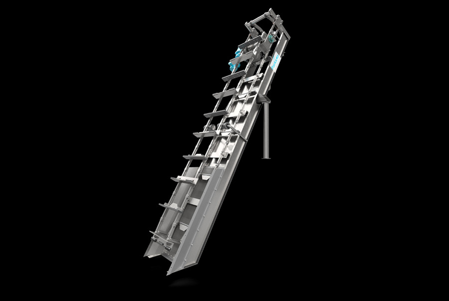 Side View of Aqua Caiman™ In-Channel Articulating Rake Screen