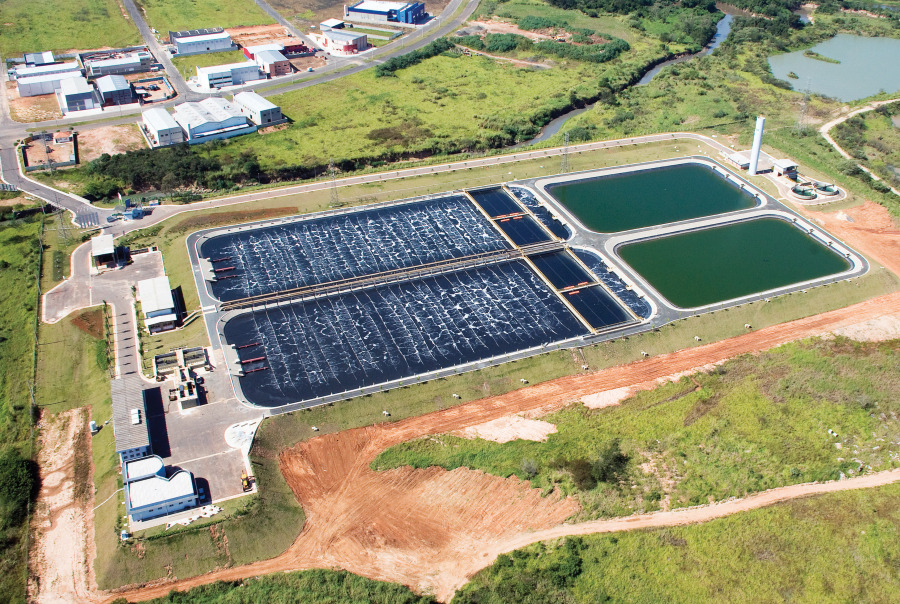Aerial view of Biolac with Clarifier and post aeration basin