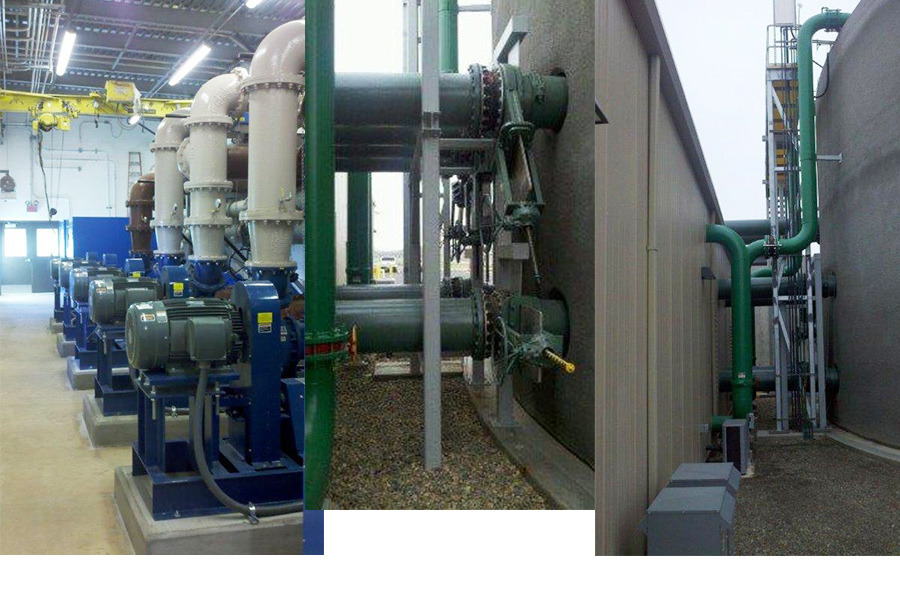 Recirculation pumps and lines- part of an EquaReact® installation