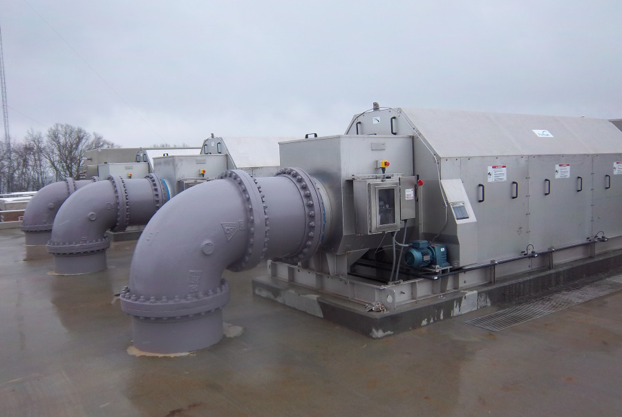 Multiple Units of Rotoshear® Internally Fed Rotary Drum Screen